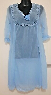 Size 8 - Size 10 Women's Blue Vintage Sheer 3/4 Sleeve Nightie Sleepwear