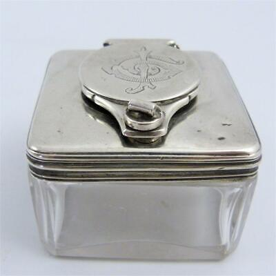 Antique Georgian Solid Silver Lockdown Top Travelling Glass Inkwell, London 1835