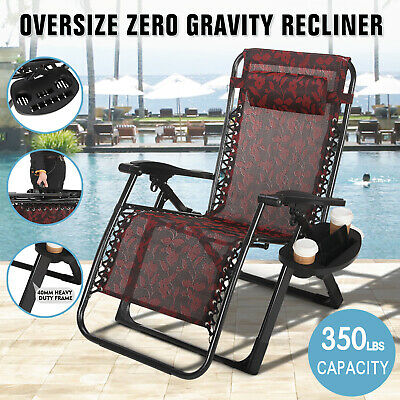 Extra Wide Zero Gravity Chair Patio Lounge Folding Beach Recliner Support  350lbs