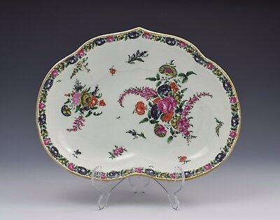 First Period Worcester Kidney Shape Comptier Dessert Dish Porcelain Antique