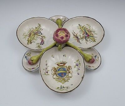 Large Antique French Faience Sweetmeat / Hors D'Oeuvres Dish