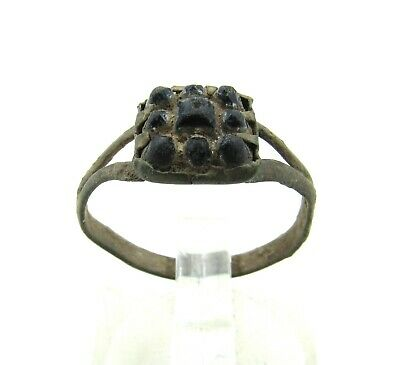 Authentic Late Medieval Tudor Bronze Ring W/ Stones In Bezel - Wearable - J69