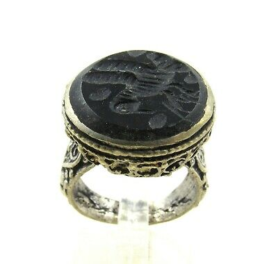 Authentic Post Medieval Silver Ring W/  Stone Intaglio Bird - Wearable - J70