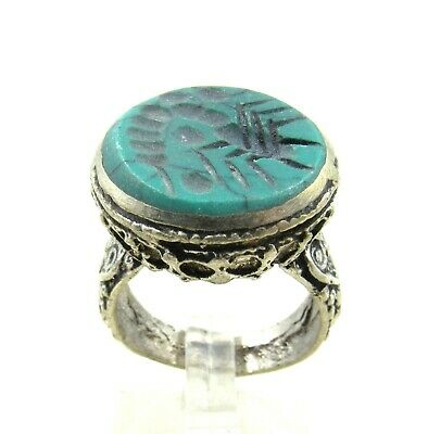 Authentic Post Medieval Silver Ring W/ Intaglio Stone Scorpion - J71