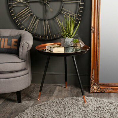 Copper black mirrored top side occasional table comtemporary modern furniture