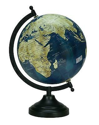 Globe World Map Earth Rotating Atlas Navy Blue Ocean School Home Table Decor