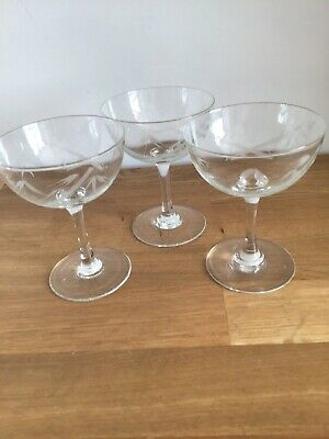 Vintage Retro Champagne Glass X 3 Bamboo Etched Saucer Cocktail 1950s