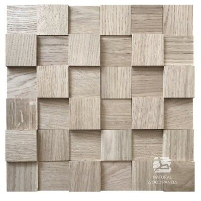Natural Solid Wood Wall Panel Oak Cube Smooth Raw Decor 3D Tiles Sample