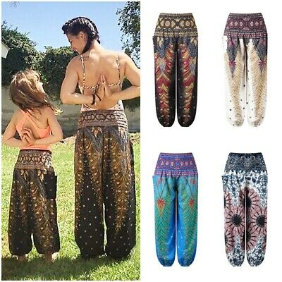 Kids Girls Aladdin Harem Pants Yoga Baggy Boho Hippie Alibaba Elastic Trousers