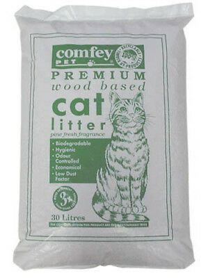 Comfey Cat Litter Woodbase 30ltr *DAMAGED PACKAGING + Food Scoop*
