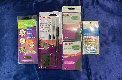 Sculpey Lot Glow Clay Kit 5 In One Tool Wet Dry Sandpaper Free Jumbo Glitter Set