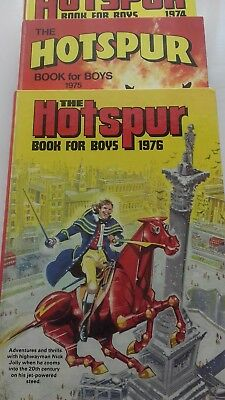 """Three Vintage """"the Hotspur Book For Boys Annuals 1974/75/76""""."""