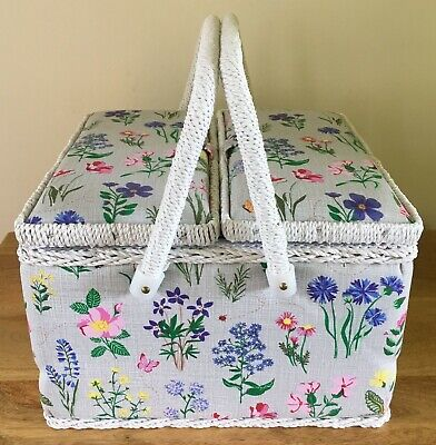 SEWING BOX BASKET Twin Lid 'SPRING GARDEN' DESIGN Very Pretty Design