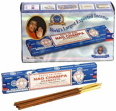 ❤️ 3 6 or 12 Packs Genuine Satya Sai Baba Nag Champa Incense Joss Sticks