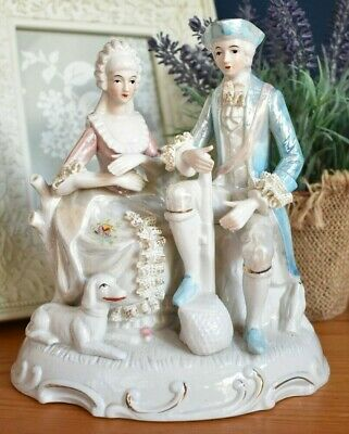 Vintage Regency Style Man And Woman Figurine /Couple /Figure Ornament (refJ88)