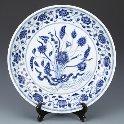 """13"""" Ming xuande mark China antique Porcelain Blue & white A bunch of lotus plate"""