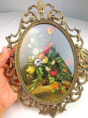 """2 Vintage Ornate 10"""" Oval Floral Wall Art Brass Tone Frames Convex Glass Italy"""