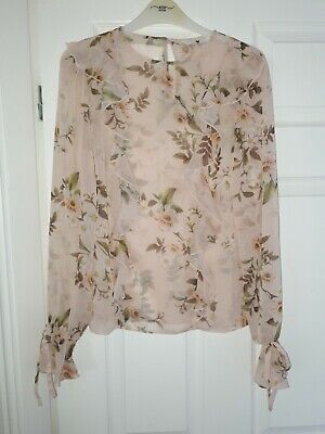 Brand New V By Very Pale Pink Long Sleeve Floral Sheer Ruffle Blouse Size 8