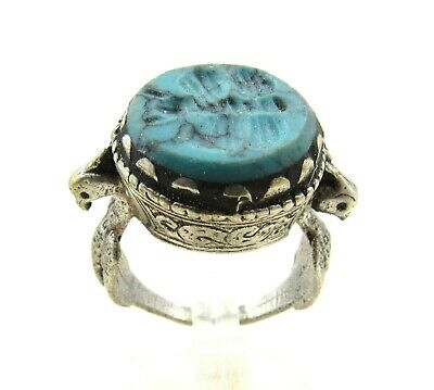 Authentic Post Medieval Era Silver Ring W/ Intaglio Stone Butterfly - J97