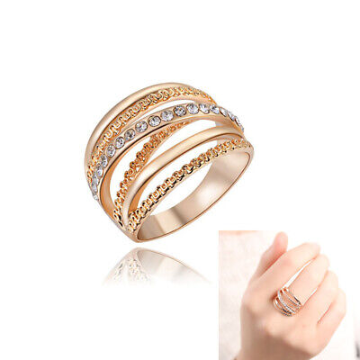 Jewelry Wedding Cubic Zirconia Rose Gold Plated Finger Band Rings Multi Layer