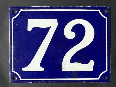 Vintage French Enamel House Number 72 Sign