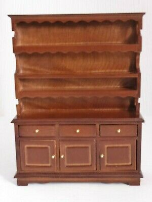 Dolls House 1:12 Scale Oak Dresser Display Shelves Drawers Cupboard Kitchen Etc