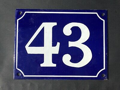 Vintage French Enamel House Number 43 Sign