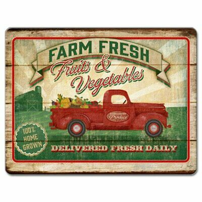 Farm Fresh Country Red Pickup Truck Fruits  Vegetables Glass Cutting Board 15x12