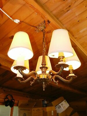 Antique Brass Chandelier Ceiling Light 5 Arm with Shades