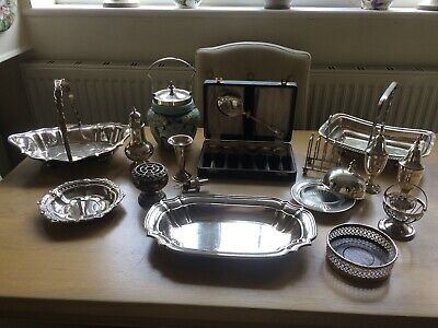 Vintage Job Lot of Silver Plate/Metal Pieces.Sold as Seen!