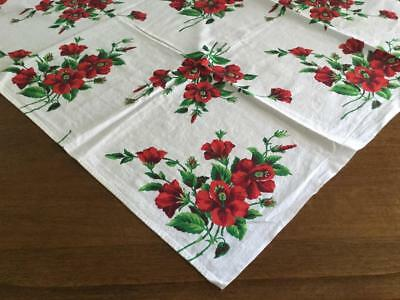 Vintage White Tablecloth with Bright Red Flower and Greenery Bouquet 50 x 52
