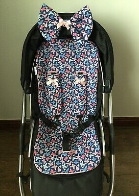 Butterflies baby pram buggy pushchair liner blue pinks harness covers hood bow