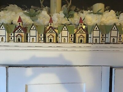 Vintage Lot Of 8 Glittered Cardboard Putz House Ornaments