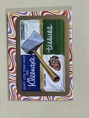 2008 Wacky Packages Flashback Series 2 Gold Kleenaxe Tissues #25. NM/MT