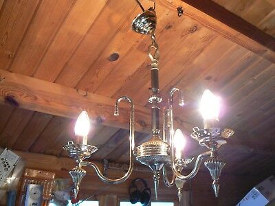 Vintage Brass Chandelier Ceiling Light 3 Arm with 2 Wall Lights