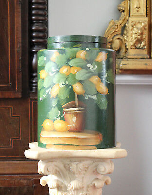 A Large Country House Tea Caddy Jar, hand Painted Citrus Tree Decoration