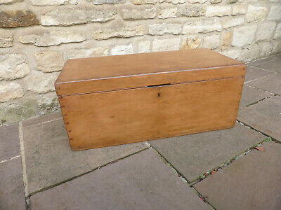 Vintage Pine Blanket Box. Stripped + Polished with Candle Tray & Small Drawer