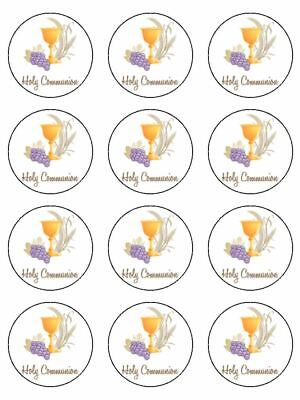 Holy Communion Traditional  edible printed cupcake Toppers Wafer or Icing x 12
