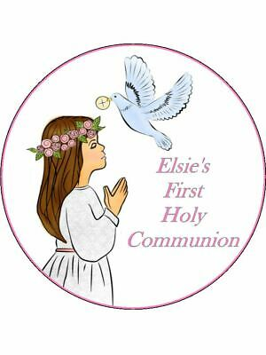 1st Holy Communion Girl personalised wafer or Icing edible Round Cake topper
