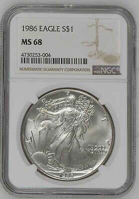 1986 American Silver Eagle NGC MS 68