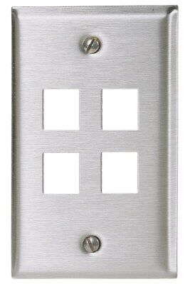 Hubbell SSF14 1-Gang 4-Port Stainless Steel Faceplate