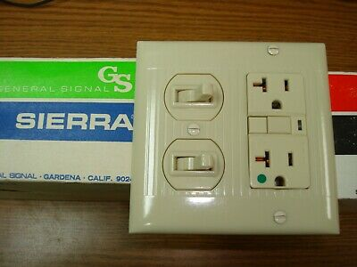 Vintage Uniline Ivory Decora GFCI Switch Outlet Wall Cover Plate 2 Gang Sierra