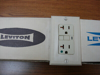 Vintage Uniline Ivory Leviton Decora GFCI Switch Outlet Cover Plate Ribbed