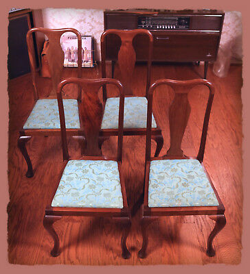 Antique VTG Queen Anne Style Dining Side Chairs, Drop-in Seat  (Lot of 4)