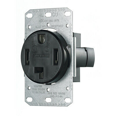 Hubbell RR430F Range And Dryer Receptacle, Black