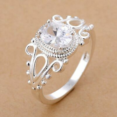 Jewelry Engagement Wedding Rings Hollow Flower Cubic Zirconia Silver Plated