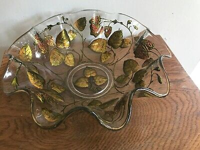 """Antique Goofus Glass Strawberry Design 10""""Bowl Very Heavy Erly 1900's Fluted Top"""