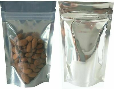 ZIp Lock & Stand up Reusable Bags / Pouches - One side Clear/Shiny Silver X 100