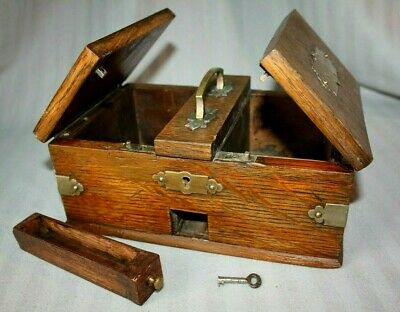 Antique Victorian Oak & Brass Cigarette & Cigar box, Humidor, Lockable with key