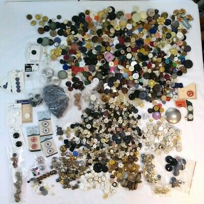 HUGE Sewing Buttons Mixed Lot Over 5 lbs Vintage Celluloid Plastic Glass Brass